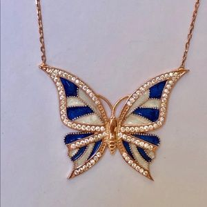 Jewelry - 🦋Silver blue butterfly rose gold plated necklace